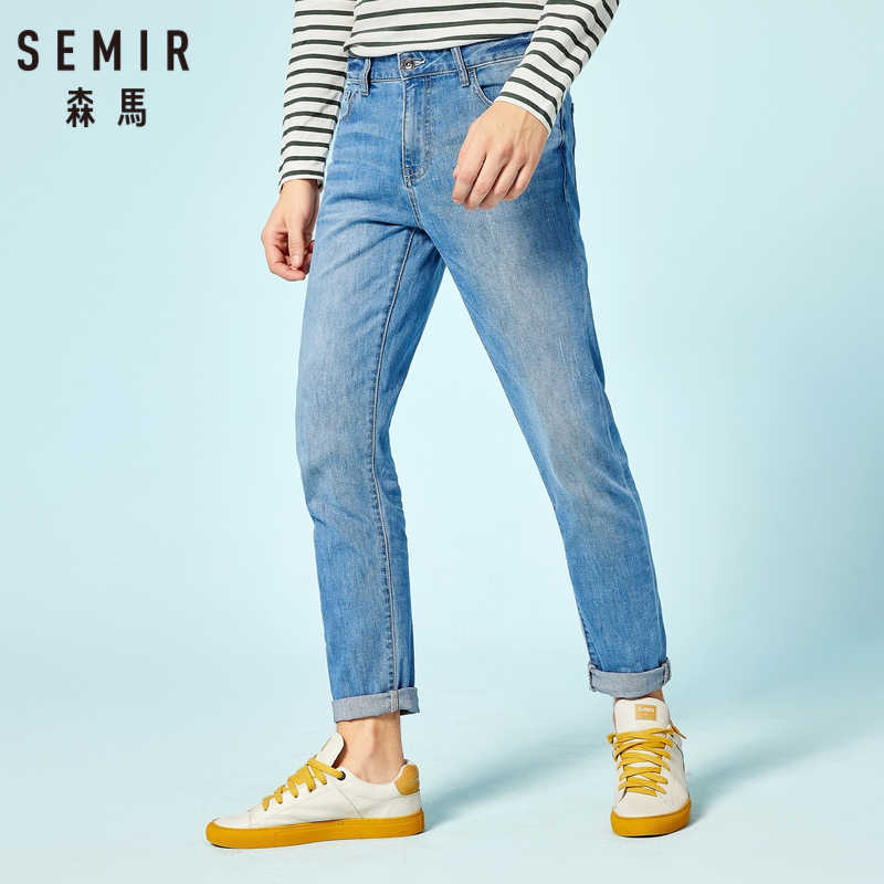 SEMIR Men Slim Fit Jeans in Washed Denim with Side Pocket Men's Cotton Jeans in Straight Leg with Zip Fly with Button for Spring