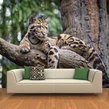 Custom any size wall mural Modern fashion Outdoor animal Leopard Wall Sticker Wallpapers Home Decor YBZ163