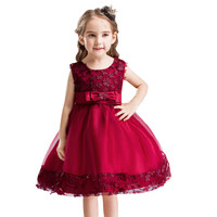 Princess Girl Party Dresses Flower Petals Bow Wedding Dress For Christmas Kids Birthday Clothes