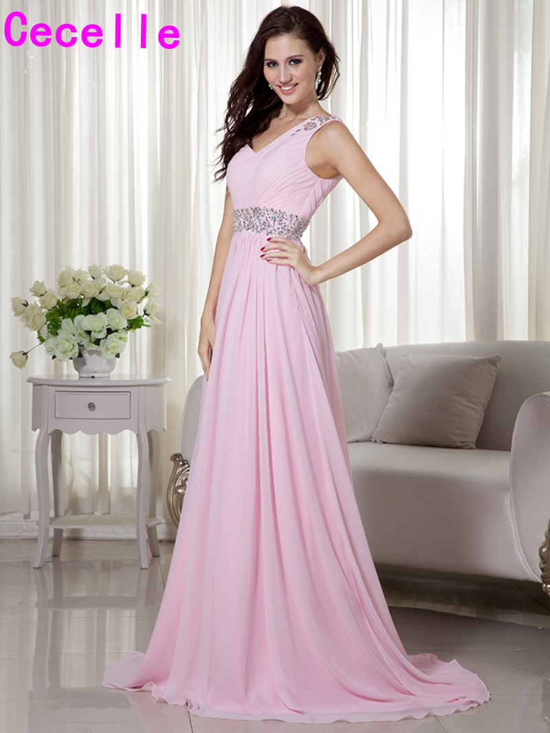 Aliexpress buy 2017 pink long one shoulder beaded chiffon aliexpress buy 2017 pink long one shoulder beaded chiffon bridesmaid dresses gowns with strap for women bridesmaid robes cusstom made sale from ombrellifo Image collections