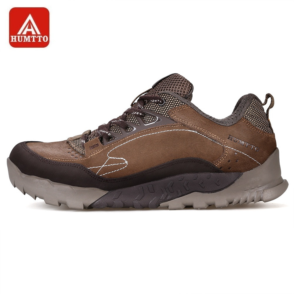 HUMTTO Hiking Shoes Men Genuine Leather Lace-Up Non-slip Sneakers Outdoor Trekking Tourism Climbing Sport Shoes цена