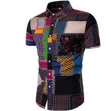 New Summer Men's Slim Casual Cotton Linen Printing flower short-sleeve shirts /M
