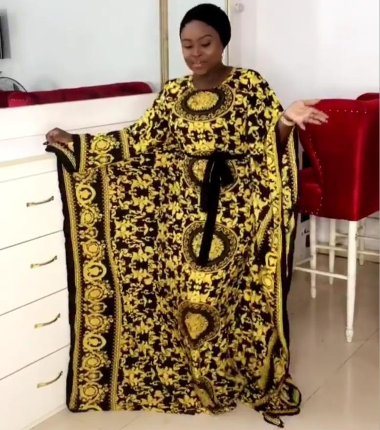 Free Size New Fashion Chiffon Super Size African Loose Long Dashiki Traditional Party Dress For Lady