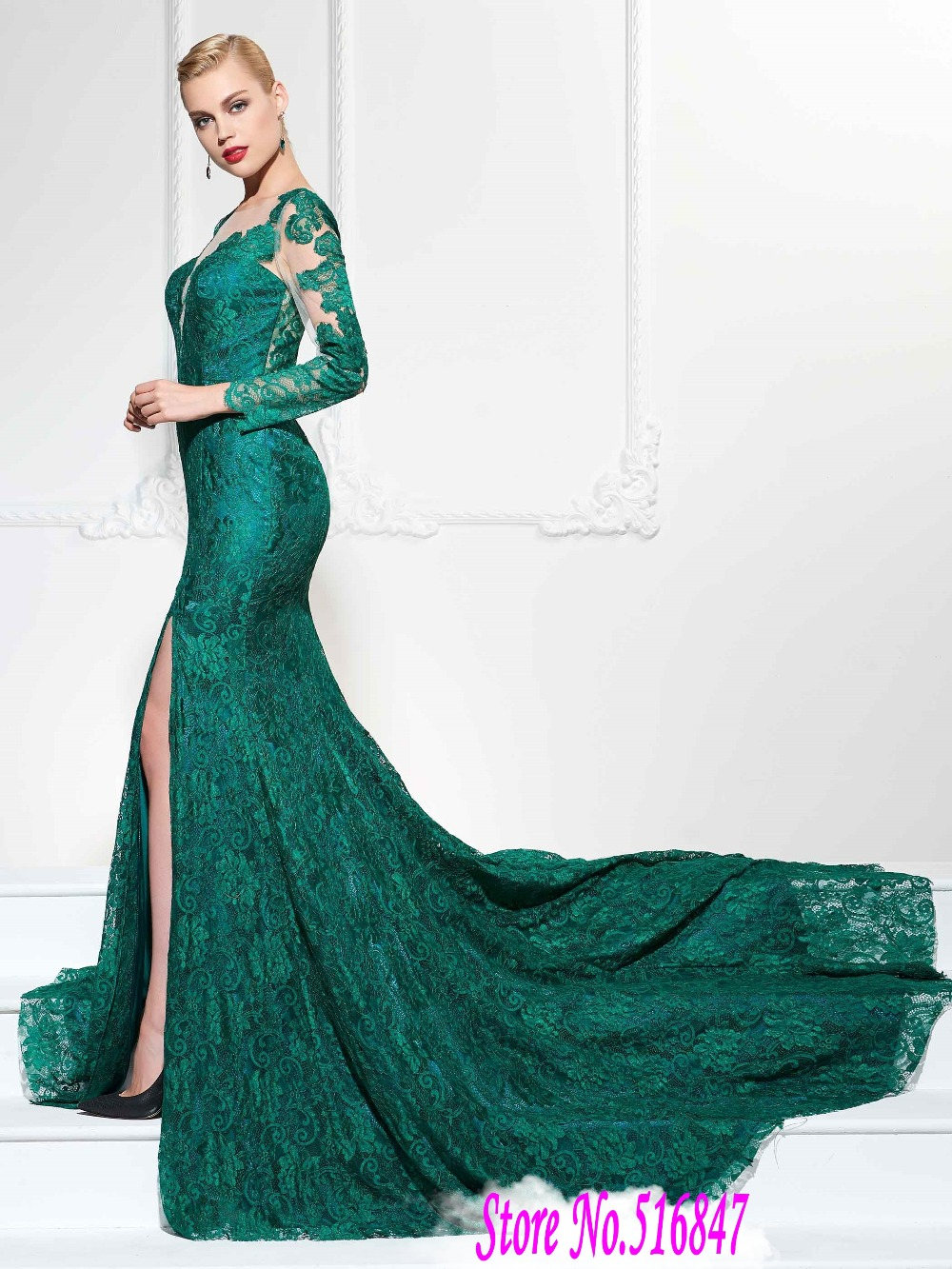Elegant Long Sleeve Evening Dresses Green Lace Party Dresses Mermaid ...