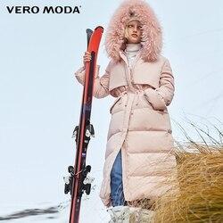 Vero Moda парка женская пуховик женский куртка с капюшоном из меха енота, 90% белый утиный пух, прямая, толстая, очень длинная, пуховик для женщин | ...