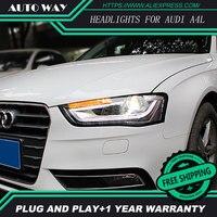 Стайлинга автомобилей Фара для Audi A4L Фары для автомобиля audi a4 2013 2015 светодиодные фары H7 D2H HID вариант Ангел глаз bi xenon луча