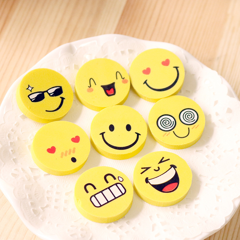 144pcs Kawaii Soft Eraser Cute Smiley Rubber Erasers For Kids School Student Pencil Eraser Stationary Supplies Gift Items Goma
