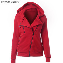 COYOTE VALLEY 4 color New Autumn&winter Women hoodies sweatshirts zipper V Neck Long Sleeve Warm Female Hoodies Sudaderas Mujer
