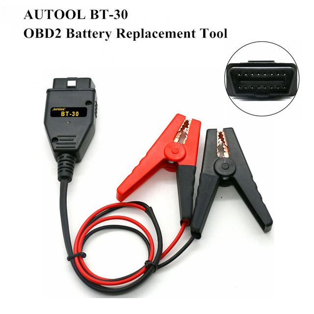 AUTOOL BT-30 OBD2 Auto Battery Replacement Tool car battery Alligator Clips battery Clamps Car ECU Emergency Power Supply Cable