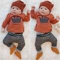 2016 новый стиль весна baby boy девушка одежда набор Длинные рукав рубашки + брюки 2 шт. новорожденный одежда костюмы детские костюм