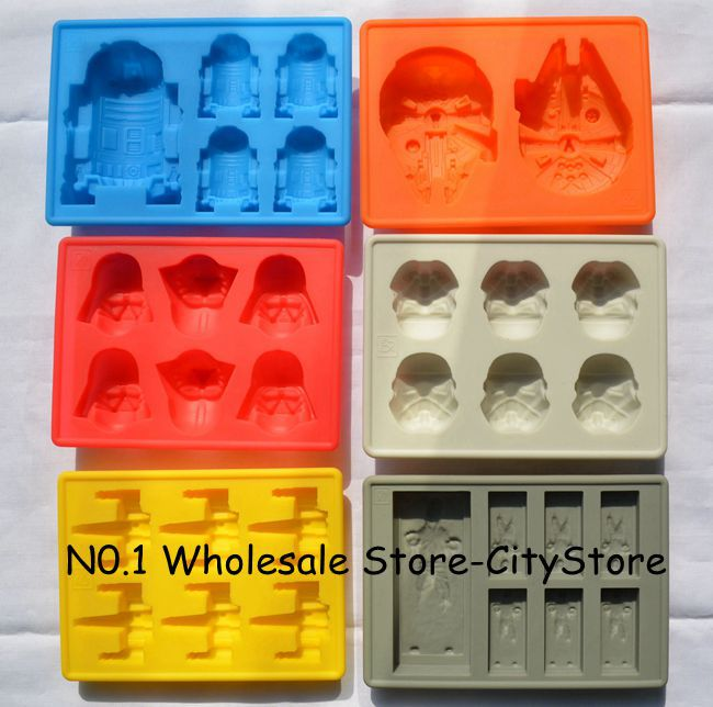 Hot 6pcs Star Wars Darth Vader,Storm Trooper,R2D2,Falcon,X-Wing,Hans Solo Silicone Mold Ice Cube Tray Chocolate Fondant Mould