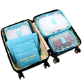 6pcs/set Nylon packing cube large capacity double zipper Waterproof bag Luggage Clothes Tidy Sorting Pouch Portable Organizer