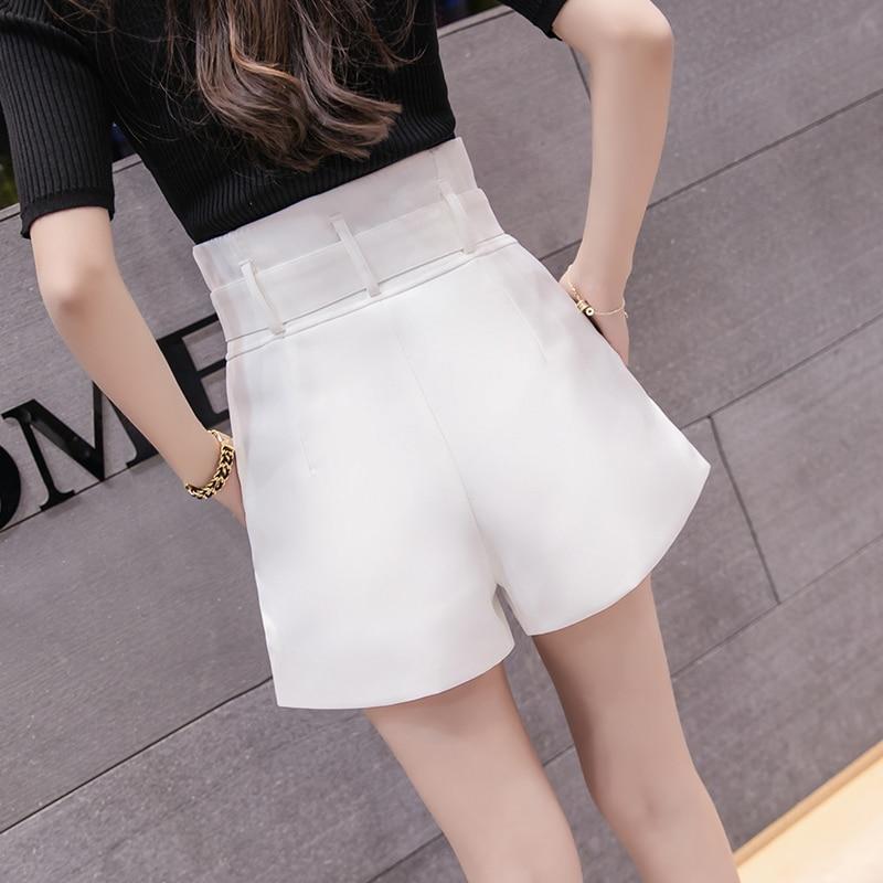 Hot Sale High Waisted Wide Leg Shorts Women Spring Summer Ruffles Elegant Office Work Shorts With Belt Loose Casual Short Femme