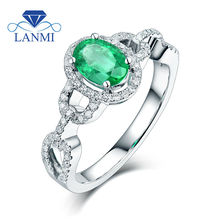 Oval 5x7mm Natural Gemstone  In Solid 14Kt White Gold Green Emerald Ring Diamond Jewelry for Women G090458