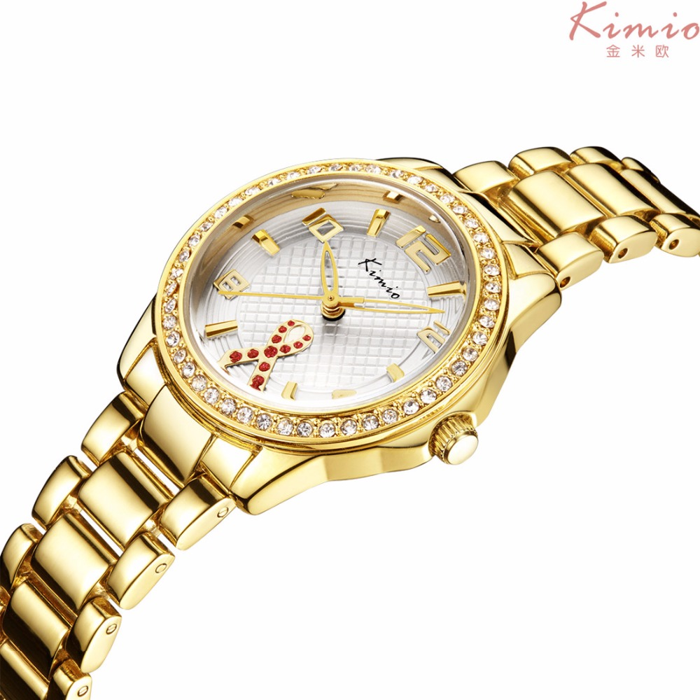 Kimio Golden Watch Women Stainless Steel Fashion Rhinestones Crystal ladies  bracelet Quartz Wristwatches For Women Montre Femme-in Women s Watches from  ... 7835c6367bc0