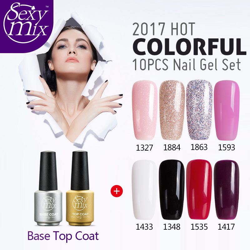 Sexy Mix 10pcs/set Nail Gel Polish Sets Any 8 Color Soak off Gel Varnish base top coat Set Long Lasting UV Gel Nail lacquer Kit 12pcs lot green series uv gel nail polish led lamp gel lacquer gel polish vernis semi permanent gel varnish nail primer base top