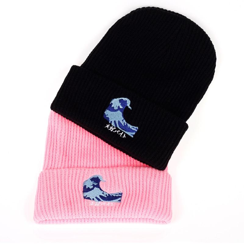 2017 New Fashion Harajuku Black Couple Wave Embroidery Beanies warm hat men women winter Hip hop cap hats