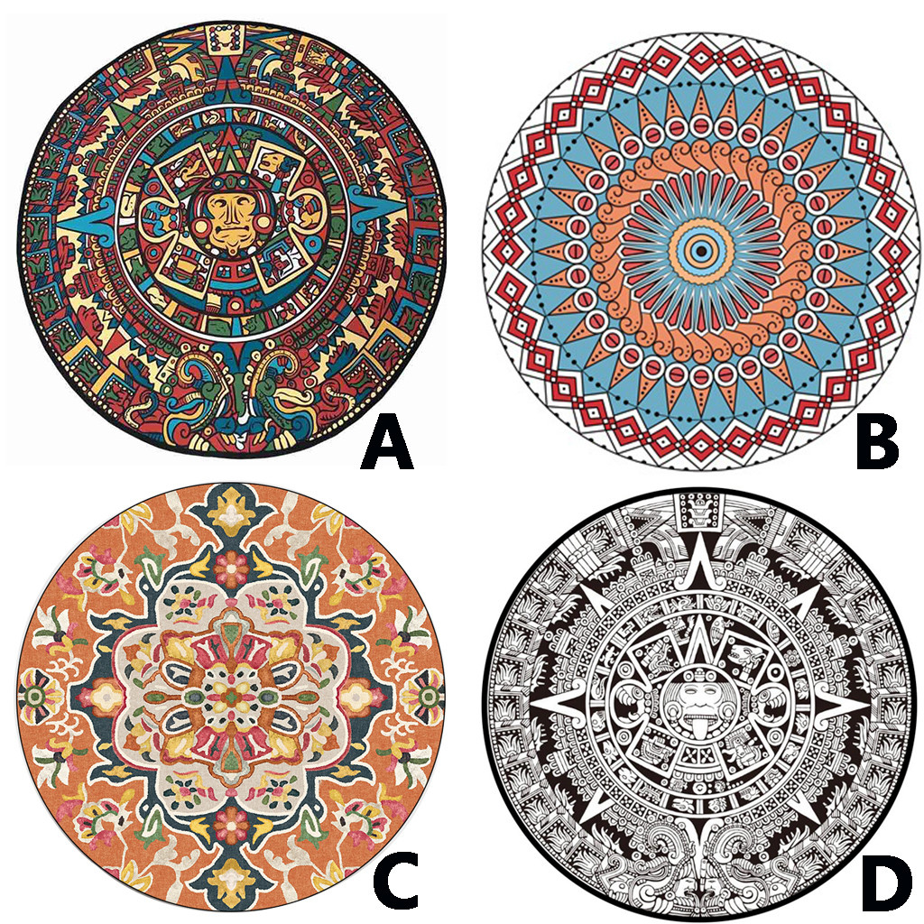 Carpet For Living Room Modern European Mandala Flower  Series Round Carpets For  Room Computer Chair Area Rug  L529