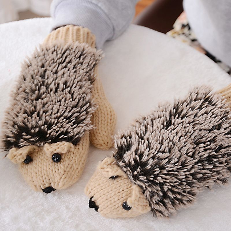 Womens Cartoon Hedgehog Gloves Thicken Winter Hand Warmer Knitted Wrist Mittens