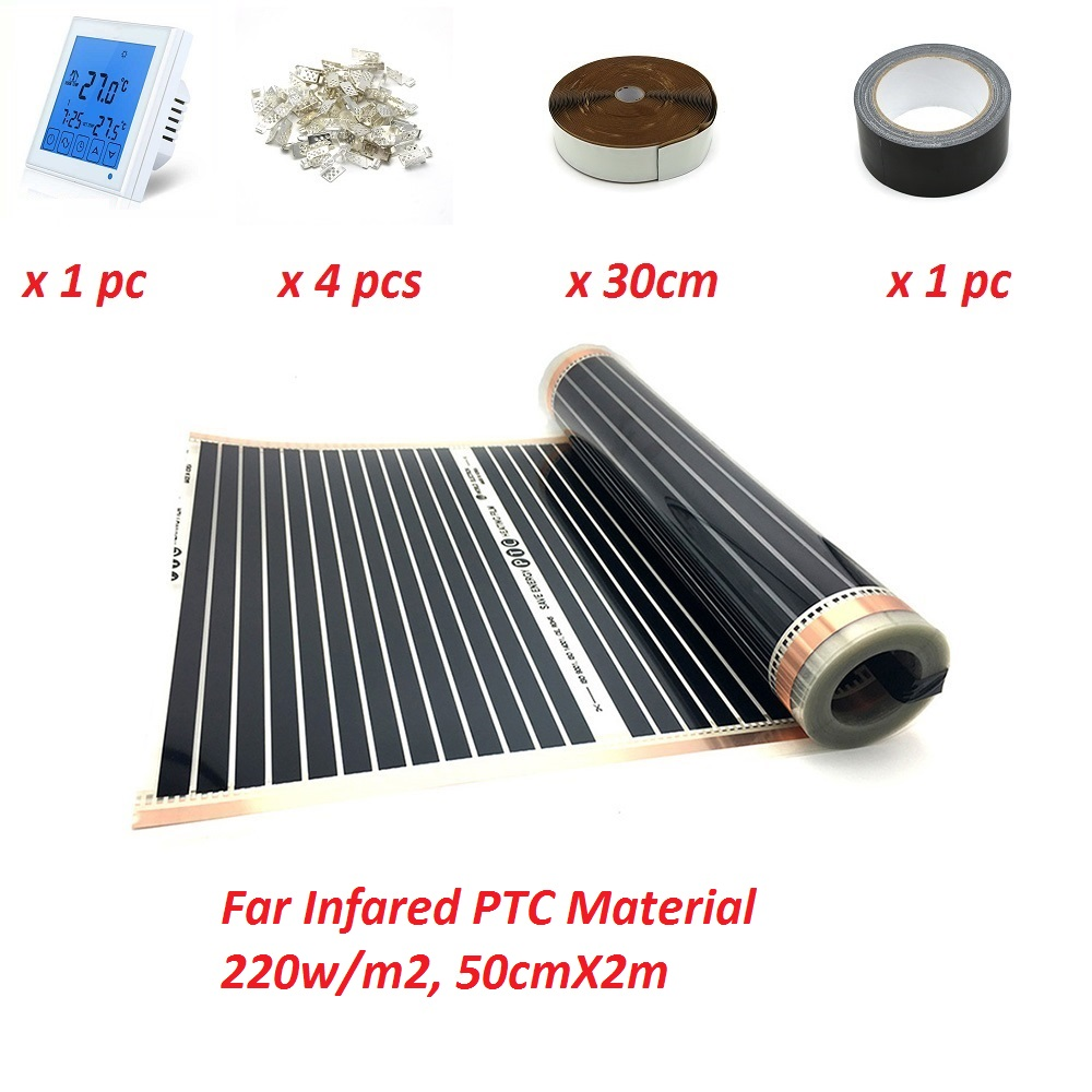 1m2 Underfloor Heating Film 220w/m2 50cmX2m Far Infared PTC Warm Mat Low Electric Made In Korea