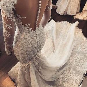 Image 5 - בת ים שרוול ארוך תחרה ואגלי בציר חתונה שמלות יוקרה סקסית כלה שמלת Robe דה Mariee תפור לפי מידה WD50N
