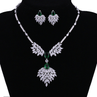 Green Cubic Zironia Jewelry Set Elegant African Wedding Jewelry Sets White Gold Dubai Jewelry Sets Parure