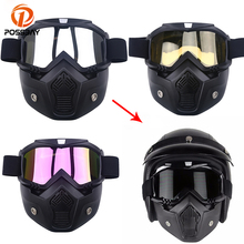 POSSBAY Motorcycle Glasses Googles With Mask Open Face Detachable Gogg