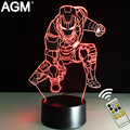 Marvel Superheroes 3D Night Lights Novelty 3D Touch Iron man Table lamp Decoration 7 Color RGB 3D LED Lights For Kids Gifts Dec