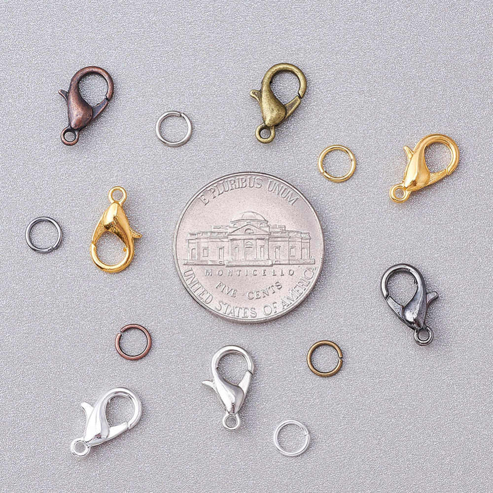 BSTHP 120pcs Lobster Clasps Iron Jump Rings for Jewelry Making Findings Accessories Color Mixing Silver