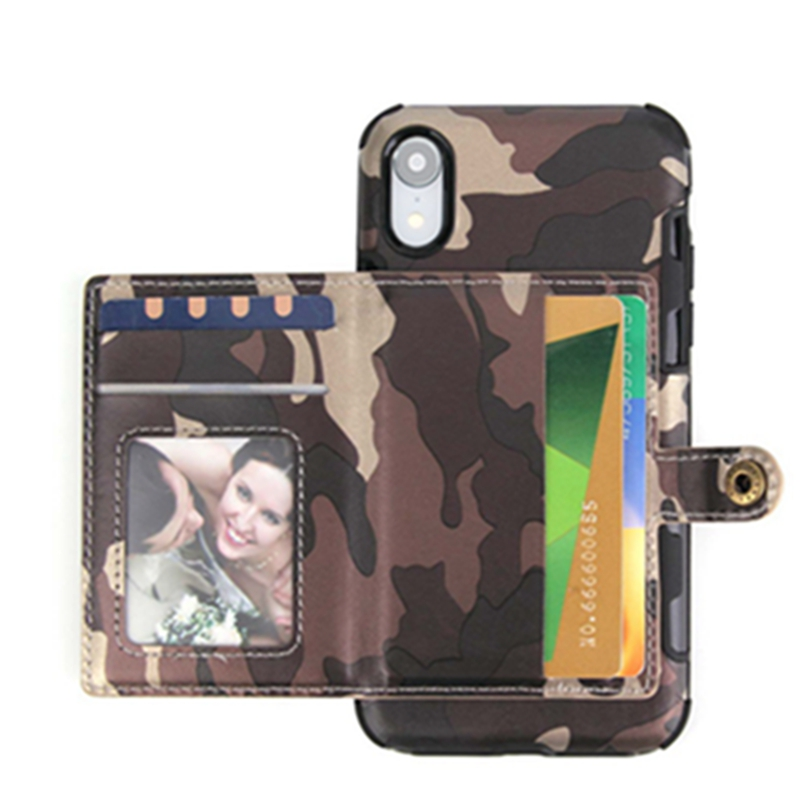 Camouflage Style PU Leather Shockproof Wallet Phone Case Cover With Card Pocket Slots for iPhone X XS MAX XR in Fitted Cases from Cellphones Telecommunications