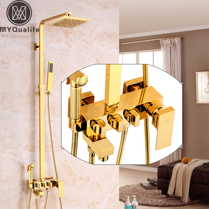 Best Quality Square Golden Shower Set Wall Mounted 8 Rain Shower Mixer Kit with Hand Shower Tub Spout Bidet Sprayer Head black wall mounted 8 rain shower faucet mixer set with bathroom commodity shelf swivel tub spout hand shower bidet sprayer