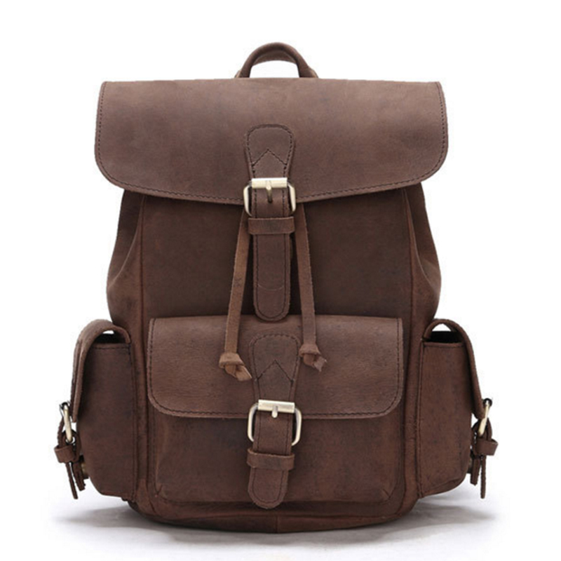Genuine Leather Rucksack New Knapsack Crazy Horse Cowhide Women Daypack Travel Computer Bag Vintage Men Backpack School Bags men canvas 15 inch notebook backpack multi function travel daypack computer laptop bag male vintage school bags retro knapsack