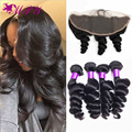 Brazilian Loose Wave With Frontal Closure 4 Bundle 8a Mink Brazilian Hair With Frontal Loose Wave Bundles With Frontal Closures