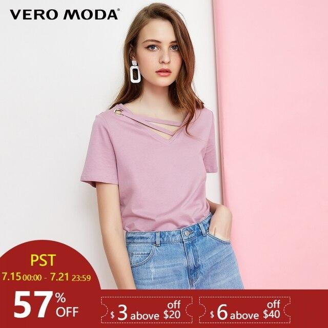 Vero Moda 100% כותנה טהור צבע צווארון דקורטיבי להקת מזדמן קצר שרוול חולצה   318101523