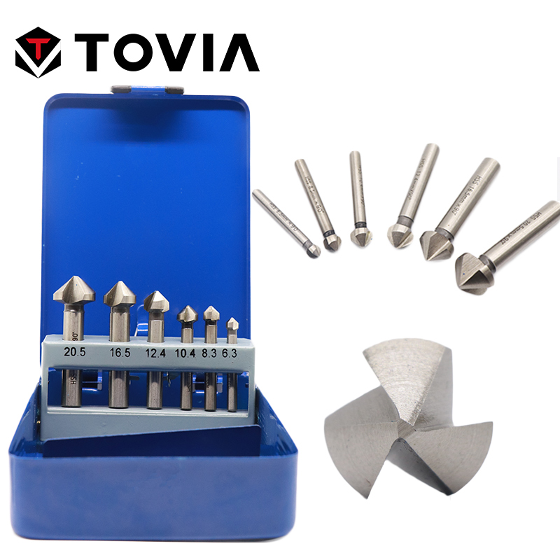 TOVIA Countersink Drill Bits 3 Flute HSS CO M35 Hard Metals Three Edge Chamfer Chamfering End Mill Cutter Round Shank 6pcsTOVIA Countersink Drill Bits 3 Flute HSS CO M35 Hard Metals Three Edge Chamfer Chamfering End Mill Cutter Round Shank 6pcs