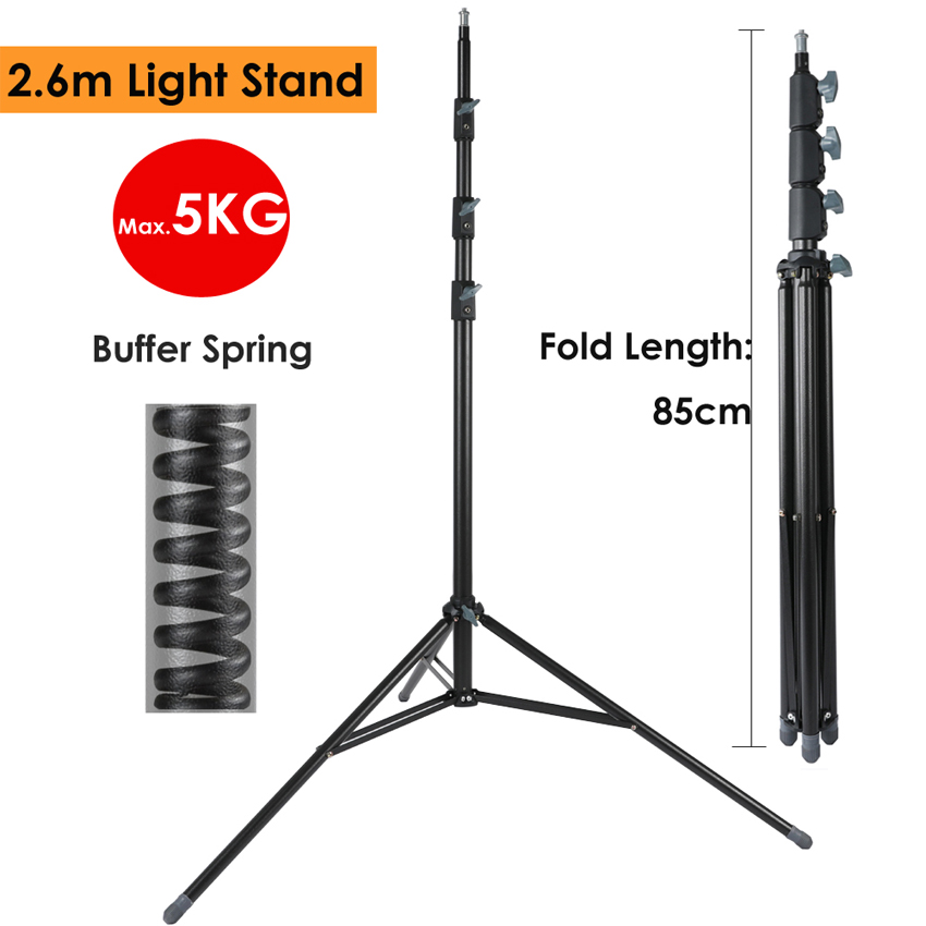 2.6m/102.36 Heavy Duty Light Stand Max Load 15KG w/ Buffer Spring Protection Steel Metal Photography Tripod for Video LED Lamp