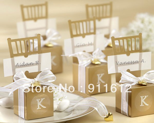 Free Shipping Miniature Gold Chair Wedding Favor Candy Box Card DIY Jewelry Box 120pcs Lot Candy