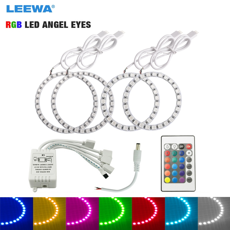 LEEWA 2X100mm 2X80mm Car RGB LED Angel Eyes Halo Ring Lighting Kit Remote Control For VW Magotan DRL Headlight #CA5266