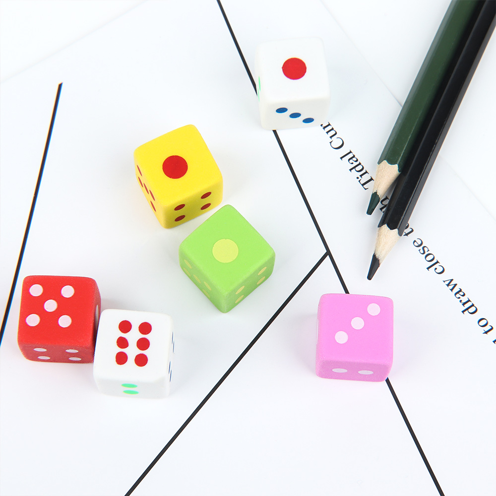 3pcs/pack Novelty Dice Shape Eraser Student Stationery Drawing Write Cleaner School Supply Color Random