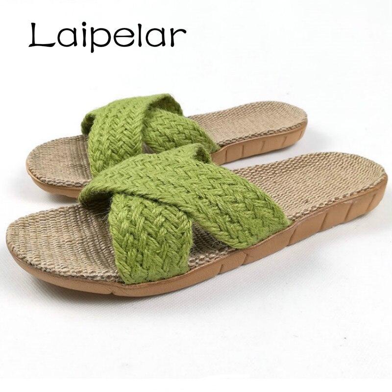 купить 2018 Summer Home Linen Non-slip Breathable Slippers Women Cross Belt Indoor\Floor Girls Gift Beach Open-Toed Slippers Shoes по цене 400.51 рублей