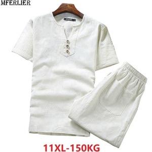Image 1 - בתוספת גודל גדול 9XL 10XL קיץ גברים פשתן קצר שרוול חולצות ומכנסיים קצרים כותנה 8XL יפן סגנון V צוואר tees 52 54 62 64 66 68 70