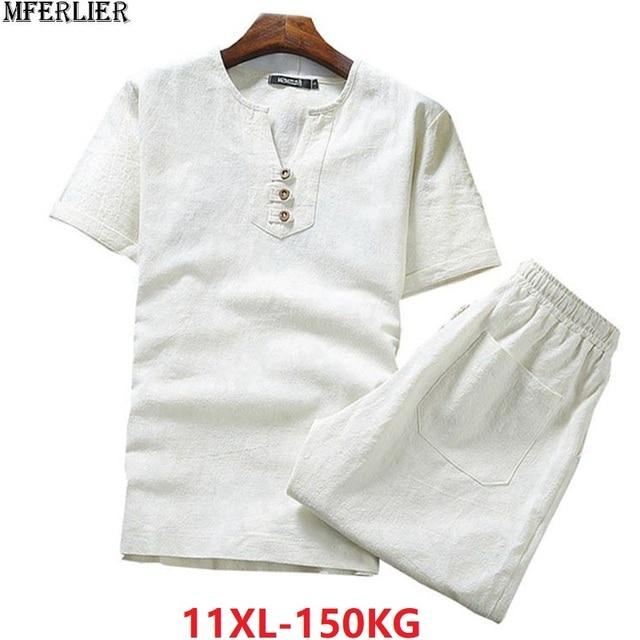 בתוספת גודל גדול 9XL 10XL קיץ גברים פשתן קצר שרוול חולצות ומכנסיים קצרים כותנה 8XL יפן סגנון V צוואר tees 52 54 62 64 66 68 70