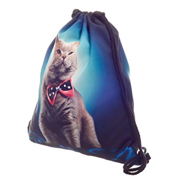 Full print Mens Womens Kids bag Teenage Drawstring Bag Shoulder School Backpack Rucksack Travel Gym(Cat)