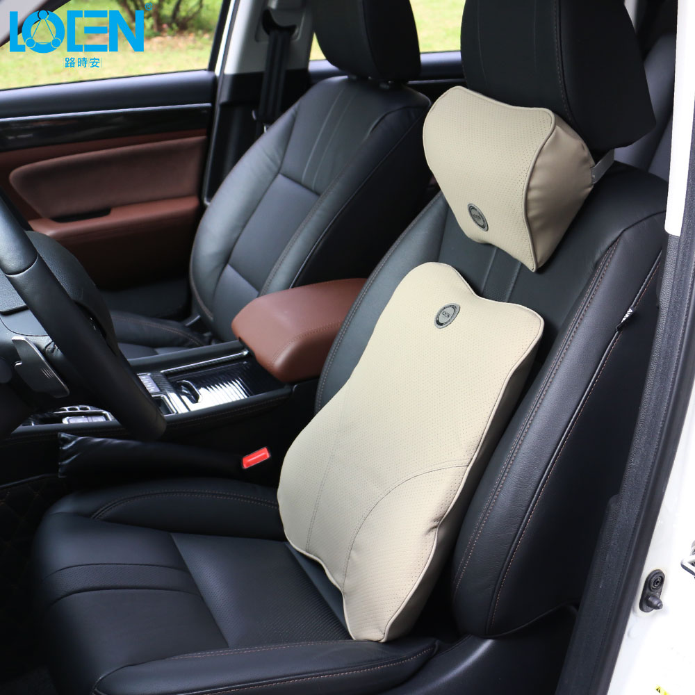 1 Set Universal Car PU Leather Head Restraint Headrest Neck Cushion Memory Foam Auto Pillow Seat Back Lumbar Support Pillows