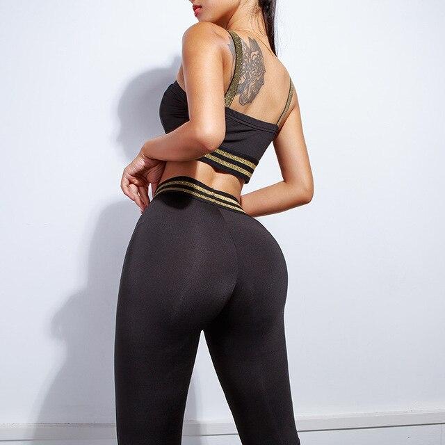 2 piece set women suit crop top legging outfit stripes fitness sportswear 3