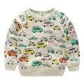 Мальчик автомобиль футболка 2016 весна осень Дети Мальчик девочка толстовки для 2-10лет ребенок случайный с длинными рукавами топы Дети одежда
