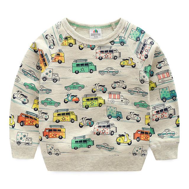 Carro do bebê menino moletom 2016 primavera outono Crianças hoodies da menina do Menino para 2-10Years criança casuais longo-luva tops Crianças roupas