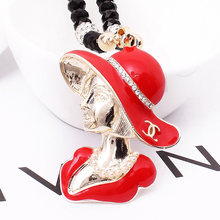 Korean version of the beautiful handmade crystal head long section with jewelry necklace Miss Mao Yilian E-0050(China)