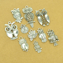 10 pcs Mix sale vintage metal owl tibetan silver diy Charms