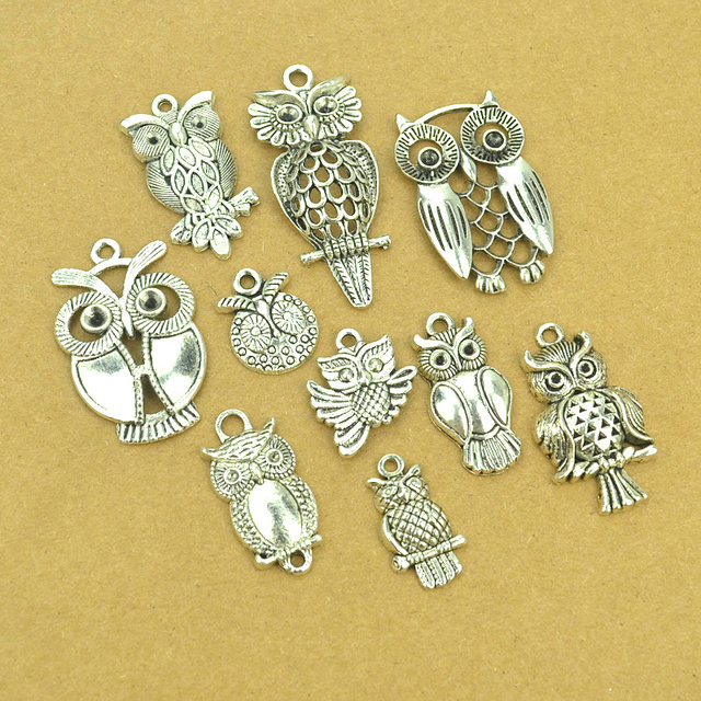 10 pcs Mix sale vintage metal owl tibetan silver diy Charms Fit Pendants & Neckl